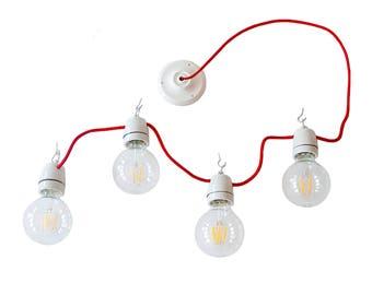 Porcelain Light Cluster Chandelier Garland Lantern Ceiling Hanging Vintage Lighting Minimal Home Decor Pendant Light Edison Lamp Globe