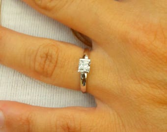 Solitaire Ring - Princess cut Solitaire Ring - Diamond Ring - Gold Ring - 925K Silver Zirconia Ring