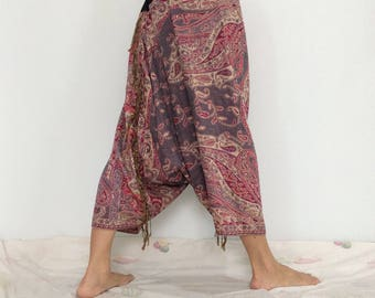 Touch Soft Silk..Pink Gray Soft Silk Harem Pants with Leaf patterned (HR-596)