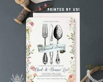 Wedding Rehearsal Dinner invitation, floral rustic rehearsal dinner invite, printed invitation, wedding dinner invitation, PRINTED!
