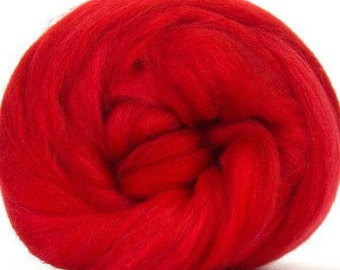 Merino Wool Combed Top/Roving by the Ounce or by the Pound - Scarlet