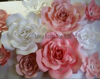 Large Pink & White Paper Flower Backdrop,10pc Paper Flowers Set,Paper Flowers Wall Decor,Baby Shower Decor,Paper Roses,Party,Wedding,Nursery