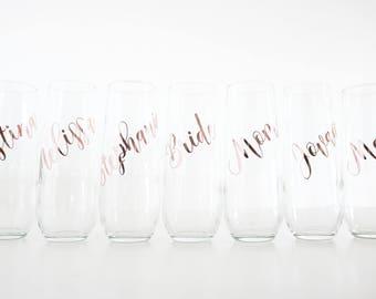 Bridesmaid champagne glasses, personalized champagne glasses, bridesmaid gift, bridesmaid flutes, bridesmaid proposal, personalized flutes