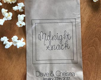 10 Midnight snack favor bags - wedding favors - guest favors - popcorn bags