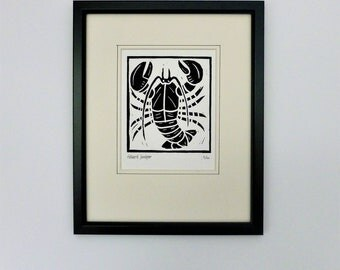 Lobster. Seaside inspired limited edition linocut print
