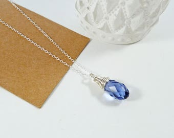 Tanzanite Necklace, Wire Wrap Crystal Drop, Romantic Gift, Pale Blue Purple, Swarovski Briolette, Sterling Silver, Wirework Bead Pendant