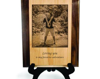 "Personalized Picture Window Solid Pyrograph - 8"" x 10"", Laser Engraved Photo, Custom Gift"