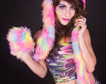 LED Rainbow cat spirit hood, scoodie, rave hood, pokemon cosplay,