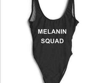 Melanin Squad Swimsuit. One Piece Swimsuit. Melanin Squad Swim. Squad Swim. Bachelorette Bathing Suit. Bachelorette Swimsuit.