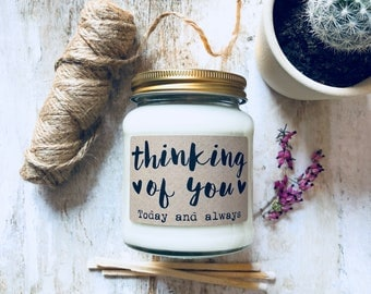 Personalised 'Thinking of you' Soy Scented Candle , Sympathy Candle , In our thoughts