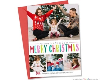 Bright Colorful Merry Christmas Card - Christmas Picture Card - 4 photo holiday card, 4 picture christmas card, bright colorful holiday card