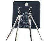 Vintage hammered fork tine earrings, silverware jewelry