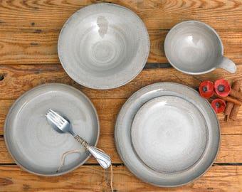 Pasta plate Linen ,Ceramic plate, serving plate, side plate, handmade plate, cake plate, pottery plate, handmade plate, dinnerware