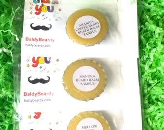 Beard balm / moustache wax sample pack. Beard care product sample kits. Tester packs. Choose any 3 balm or wax sample size tins, BaldyBeardy