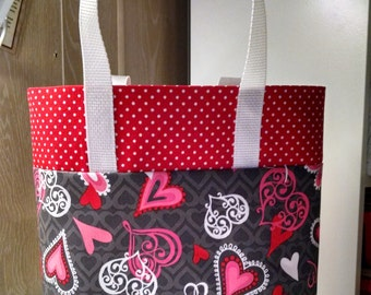 Heart Gift Bag Reusable Tote Bag Girls Library Tote Bag Hearts Pink Red Ladies