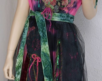 "RESERVED Wonderful Fairy dress ""Sarah"" , Fuchsia and black, art to wear, Unique, feminine"