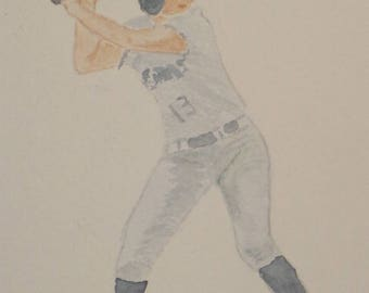 BATTER UP ORIGINAL Watercolor painting 4 1/4 X 5 1/2 inches