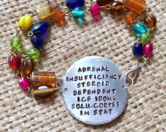 Beaded Medical Alert Bracelet, Boho Custom Medical Id, Medical ID Bracelet, Stamped ID Bracelet, Alert Bracelet, Diabetic Id Bracelet,