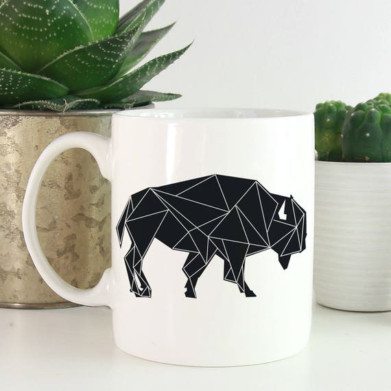Geometric Animals Coffee Mug - Buffalo Coffee Mug - Animals Mug