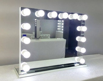 XL Dimmable Frameless Hollywood Forever Lighted Vanity Mirror w/ FREE LED Bulbs & Dual Outlets