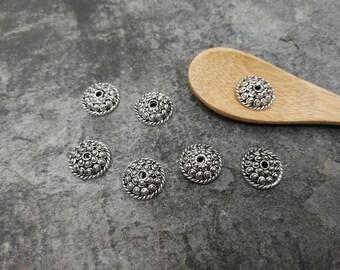 Round, ethnic bead caps, end caps pearls, brass, 11 x 3 mm