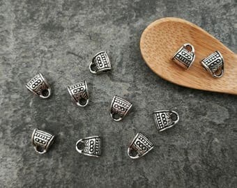 10 pcs ethnic beleres past cord beads big hole, silver, 8 x 7 x 5 mm
