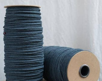 Dark Demin Twisted Cotton Cord / 5mm / Cotton Rope / Macrame Rope / Macrame Cord / Craft Rope / twisted cotton cord / 300 Meters