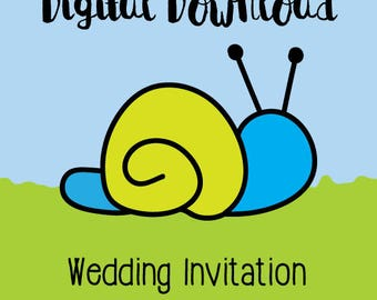 Snips and Snail Wedding Invitation Digital Download