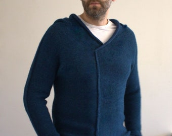 Sweaters / Chunky sweater / Hooded  sweater men / Alpaca sweater men / Hygge / Eco friendly  / Cute sweater / Blue sweater / Chunky sweater