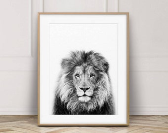 Lion Print, Lion Wall Art, Safari African Animal, Lion Photo, Black And White Animal Print, Nursery Wall Art, Nursery Decor, Printable Art