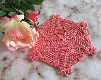 Pink doily, Crochet doily, Round crochet