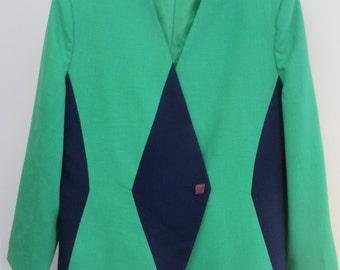 Henry Lee Green Lined Blazer w/Navy Blue Panels.....................Size 16
