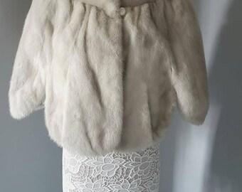 Luxury Vintage Mink Cape - Mink Fur Stole  - AZURENE Mink Cropped Shrug / Bolero / Wrap / Capelet / Jacket / Shawl  Bridal  Fur - Wedding