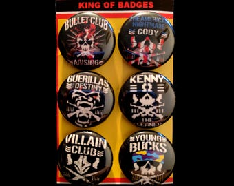 "L002 NJPW 1"" Pinback Button Pin Set of 6 Bullet Club New Japan Pro Wrestling Cody Rhodes Guerillas Kenny Omega Marty Scurll Young Bucks"