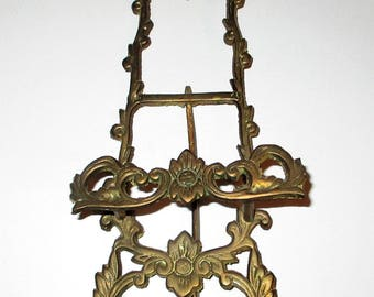 Vintage Embossed Brass Small Painting Plate Picture Easel Stand Display Victorian Floral Price Products Tabletop