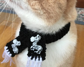Zebra scarf for cat, zebra scarf for dog, zebra scarf for pet, cat scarf with zebra buttons, dog scarf with zebra buttons, zebra pet scarf