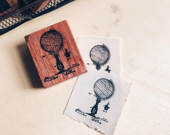 Wood MountedRed Rubber Stamp - Globe