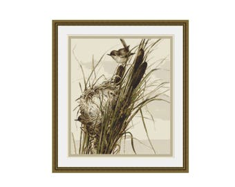 Bird's Nest in the Reeds Counted Cross Stitch Pattern / Chart, Instant Digital Download  (AP077)