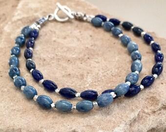 Blue bracelet, double strand bracelet, sundance style bracelet, Hill Tribe silver bracelet, boho style bracelet, beach bracelet gift for her