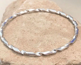 Sterling silver bangle bracelet, twisted bangle bracelet, stackable sterling silver bracelet, stackable bangle, gift for her simple bracelet