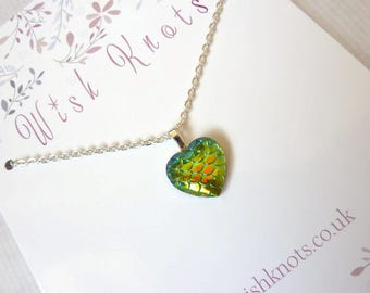 Green Dragon Heart Necklace / Mermaid Tail Pendant / Mermaid Scale / Dragon Heart / Fantasy Gift / Chain / Colourful Layering Jewellery