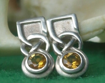 Vintage Scottish sterling silver Faceted Citrine Celtic Knot Earrings 925