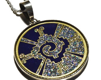 Galactic Butterfly (Lapis Lazuli) Hunab Ku Sacred Geometry medallion amulet pendant 925 sterling silver crushed gemstone