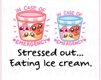 Emergency Ice Cream || Planner Stickers, Cute Stickers for Erin Condren (ECLP), Filofax, Kikki K, Etc. || DPS174
