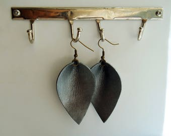 Metallic Pewter leather teardrop leaf shaped earrings / lightweight earrings / boho / 3rd anniversary gift / joanna gaines inspired