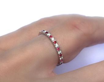 Diamond and Ruby Eternity Ring . 18k 14k Gold . Half Full Eternity . Wedding Band . Red Ruby Eternity . Yellow White Rose Gold . Polamai