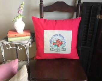 Handmade Pillow - Home Decor - Gift for Her - Strawberry Decor - Glamping Decor - Linen Pillow - Pillow Cover - Decorative Pillow