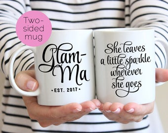Funny Grandma Mug, Glamma, Glam Ma Mug, Gift for Grandmother, Grandma Coffee Mug, Grandparents Day Gift, Pregnancy Reveal, Funny Mug