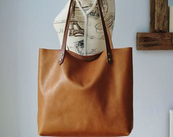 Tan leather bag, leather tote, leather tote bag, leather purse, cognac tote, shoulder bag