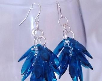 Sapphire Blue Cluster Earrings, Blue Dangle Earrings, Sapphire Teardrop Earrings